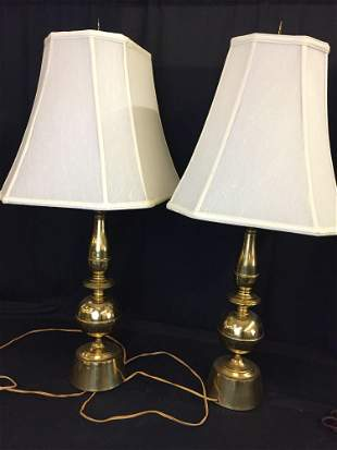 Large Brass Side Table Lamps