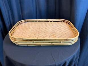 Collection of Bamboo and Wicker Serving Trays