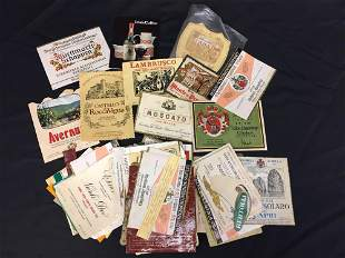 Vintage Assorted Wine Label Collection