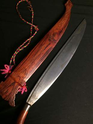 Engraved Machete with Wooden Case