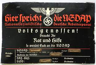 WW2 III REICH NSDAP MEETING SIGN WAFFEN SS HITLER YOUTH
