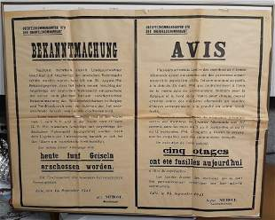 RARE LARGE EXECUTION NOTICE POSTER IN FRANCE FRENCH WW2
