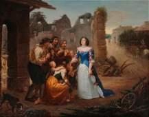 École FRANÇAISE vers 1830 La visite aux pauvres…