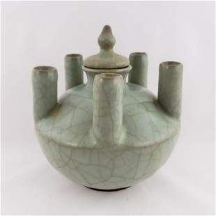 Song Dynasty Longquan Crackle Five Pipe Vase