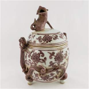 Ming Brown and White Covered Jar