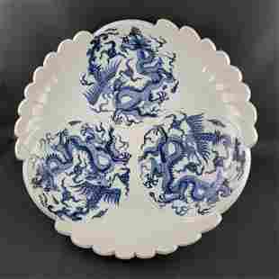 Blue & White Dragon Pheonix Plate