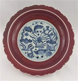 Ming Dynasty Copper Red Plate