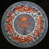Large Red Dragon Blue & White Ground Plate