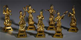 A GROUP OF CHINESE GILT BRONZE SEVEN MYTHICAL LADIES