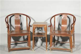 A SET OF CHINESE HUANGHUALI WOOD CHAIRS AND TABLE