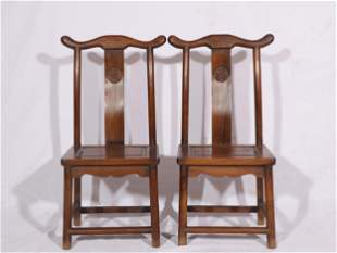 A PAIR OF CHINESE HUANGHUALI WOOD CHAIRS