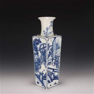 A CHINESE BLUE AND WHITE PORCELAIN SQUARE VASE