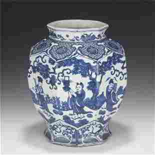 A CHINESE BLUE & WHITE FIGURAL PORCELAIN OCTAGONAL VASE