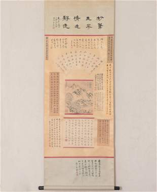 A CHINESE PAINTING AND CALLIGRAPHY HANGING SCROLL