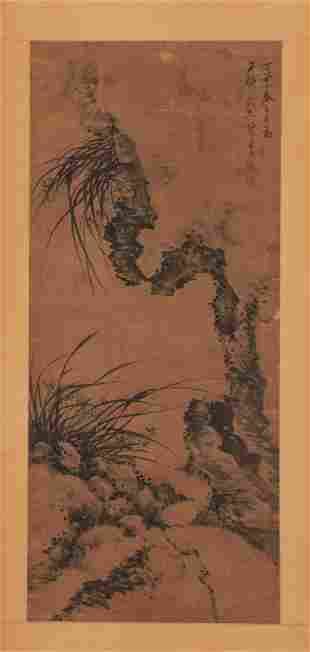 A CHINESE PAINTING OF ORCHID