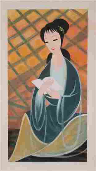 A CHINESE FIGURE SCROLL PAINTING OF A LADY