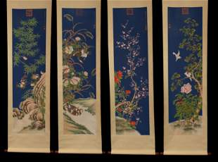 FOUR CHINESE SCROLL PAINTING S OF FLOWERS AND BIRDS