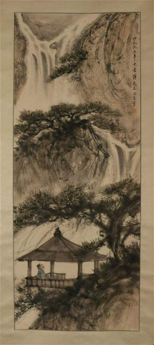 A CHINESE SCROLL PAINTING OF LANDSCAPE AND FIGURE