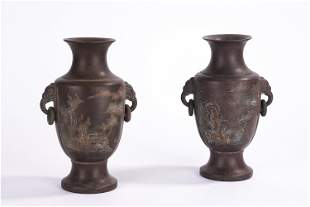 A PAIR OF CHINESE YIXING CLAY VASES WITH DOUBLE HANDLES