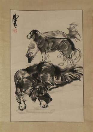 A CHINESE SCROLL PAINTING OF DOGS