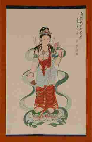 A CHINESE SCROLL PAINTING OF BUDDHA