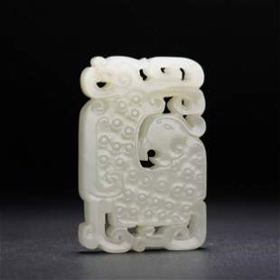 A CHINESE HOLLOW CARVED CHI-DRAGON WHITE JADE PLAQUE