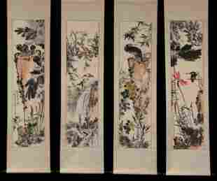 FOUR CHINESE SCROLL PAINTINGS OF FLOWERS AND BIRDS