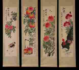 FOUR CHINESE SCROLL PAINTINGS OF FLOWERS, FRUITS AND