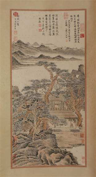 A CHINESE SCROLL PAINTING OF LANDSCAPE AND FIGURES