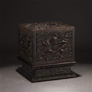 A CHINESE CHENXIANG WOOD CARVED DRAGON SEAL BOX