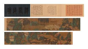 A CHINESE SCROLL PAINTING OF LANDSCAPE CALLIGRAPHY