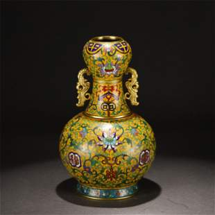 A CHINESE CLOISONNE FLORAL VASE WITH DOUBLE HANDLES