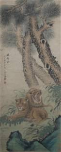 A CHINESE PAINTING OF ANIMALS