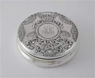 Elegant Durgin Sterling Silver Powder Box  with Crown