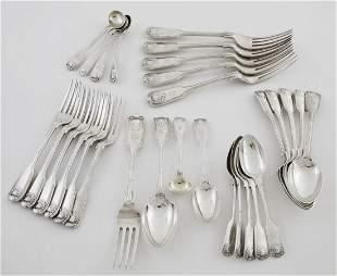 King Pattern English 19th C. Assembled Sterling Partial