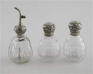 Pair 19th Century Cut Glass with Sterling Tops Cologne