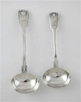 English Sterling Silver Cream Ladles, Regency Period