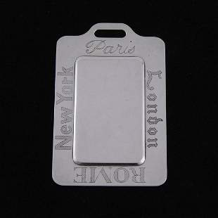 "Kirk & Son Sterling Silver Luggage Tag ""Paris, London,"