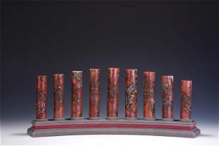 A GROUP OF NINE CHINESE CARVED SOAPSTONE SEALS