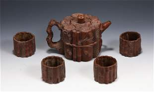 A SET OF CHINESE YIXING ZISHA CLAY TEA POT AND CUPS