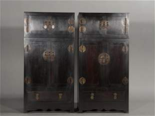 A PAIR OF CHINESE HUANGHUALI WOOD CABINETS