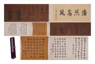 A CHINESE FIGURE PAINTING AND CALLIGRAPHY SCROLL