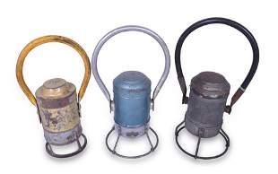 Group of Three Battery Powered Railroad Hand Lanterns -
