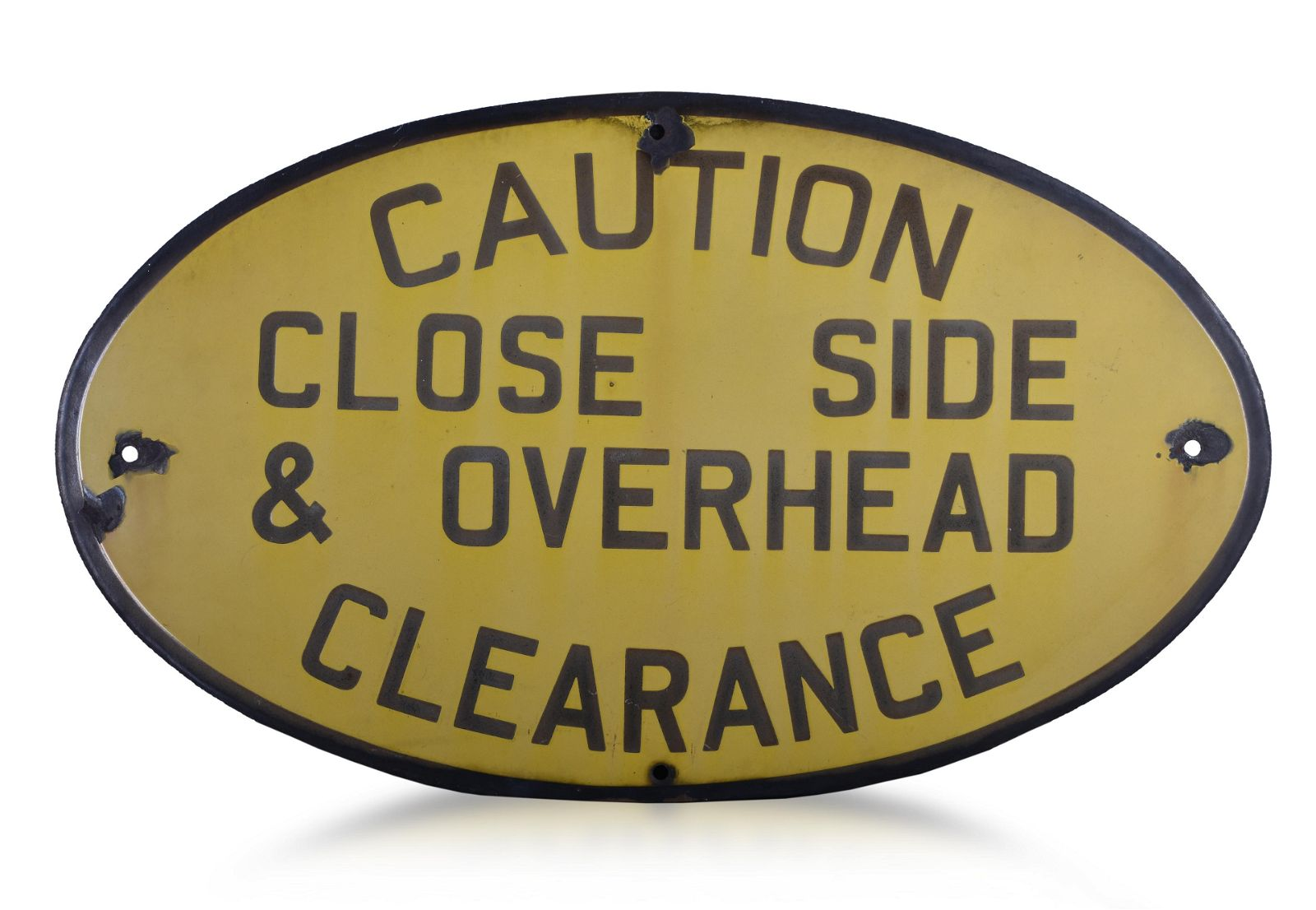 Caution Close Side Clearance Railroad Porcelain Sign