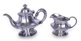 Erie Railroad Soldered Silver Tea Pot & Creamer