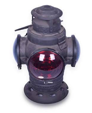 Armspear Three Lens Railroad Marker Lantern - Restored