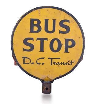 """D.C. Transit Metal Bus Stop Sign. Measures 12"""" in"""