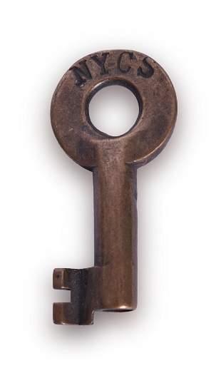 New York Central Railroad Tool House Key - Serif Font.