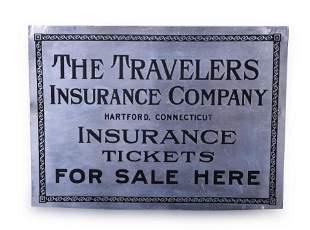 Travelers Insurance Metal Railroad Ticket Sign