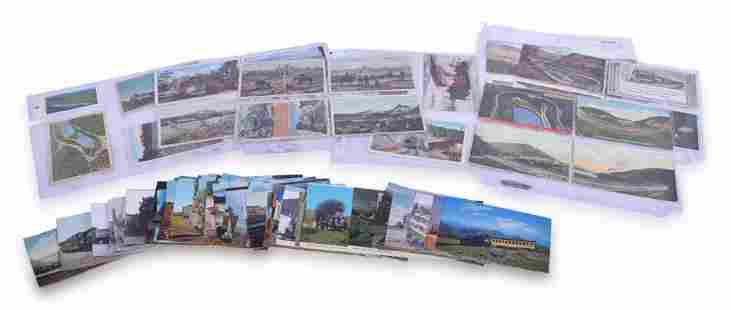 Group of 143 Railroad Post Cards - Steam Locomotives,